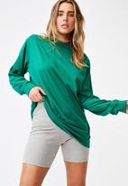 Cotton On - Basic oversized long sleeve top - heritage green