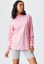 Cotton On - Basic oversized long sleeve top - prism pink