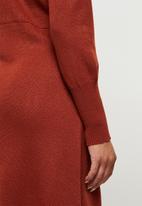 edit - Slit detail knitted midi - rust