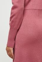 edit - Slit detail knitted midi - dusty rose