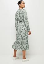 edit - Long sleeve tiered mandarin dress - sage