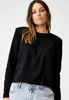 Cotton On - Padded shoulder long sleeve top - black