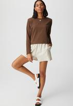 Cotton On - Padded shoulder long sleeve top - brown