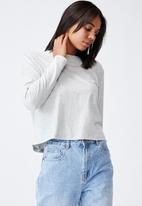 Cotton On - Padded shoulder long sleeve top - light grey marle