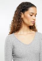 Blake - Knit long john & cropped V-neck top sleep set - grey melange