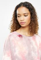 Blake - Knit tye dye long sleeve slash neck top sleepset  - pink tie dye