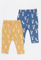 Cotton On - 2 pack leggings - vintage honey & petty blue