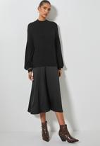 Superbalist - Turtleneck combo fabric dress - black on black