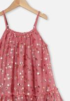 Cotton On - Iggy dress up dress - very berry/rose gold spot
