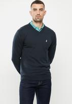 POLO - Luke long sleeve v-neck knitwear - navy