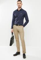POLO - Christian plain long sleeve signature shirt - navy
