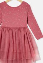 Cotton On - Iris long sleeve dress - very berry/unicorns