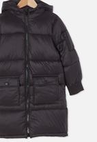 Cotton On - Finley longline puffer jacket - black