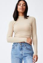 Cotton On - Rosa long sleeve top - linen taupe