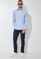 Superbalist - Jos slim fit long sleeve stripe shirt - blue & white