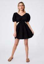 Cotton On - Woven dixie cotton cut out mini dress - black