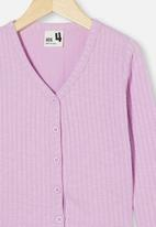Cotton On - Betty button through rib top - pale violet