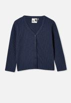 Cotton On - Betty button through rib top - indigo
