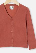 Cotton On - Betty button through rib top - chutney