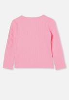 Cotton On - Betty button through rib top - cali pink