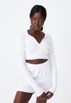 Factorie - Ultra crop long sleeve top - white
