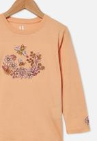Cotton On - Stevie long sleeve embellished tee - peach