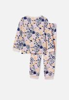 Cotton On - Edith long sleeve pyjama set - light pink & navy
