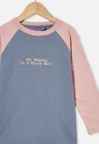 Cotton On - Tom long sleeve raglan tee - grey & pink