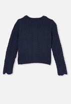 Cotton On - Arabella ruffle cardigan - navy