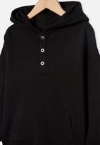 Cotton On - Henley hoodie - black