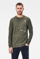 G-Star RAW - Numbers graphic r l\s tee - combat
