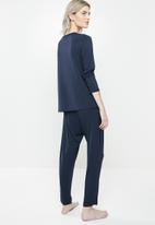 Superbalist - Sleep long sleeve top & drop crotch pants set - navy