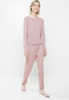Superbalist - Sleep long sleeve top & drop crotch pants set  - blush pink