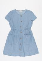 KIDS ONLY - Ariel button down woven dress - blue