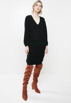 Glamorous - Knitted midi  jumperdress - black