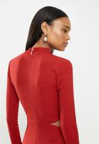 MILLA - Slim turtleneck maxi with cutout - red