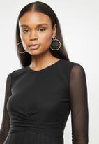 MILLA - Mesh twist front midi dress - black