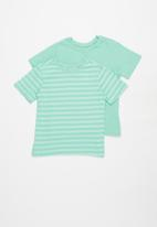 POP CANDY - Younger boys 2 pack stripe tees - aqua