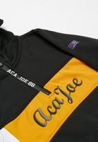 Aca Joe - Big boys colour block cagoule - black & yellow