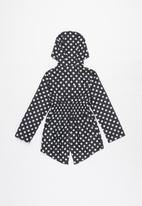 Ruby Tuesday - All over print detachable hood mac coat - black & white