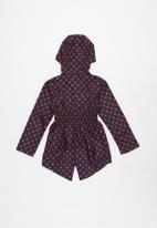 Ruby Tuesday - All over print detachable hood mac coat - navy & red