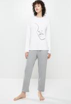 Superbalist - Sleep tee & pants set - white & grey