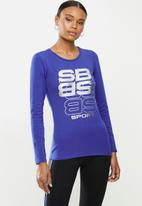 SISSY BOY - Round neck top with long sleeves and open back racer detail - cobalt blue