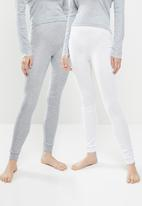 Superbalist - 2 Pack thermal legging - white & grey