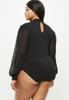 MILLA - Combo turtleneck bodysuit - black