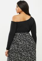 MILLA - Asymmetric one shoulder long sleeve bodysuit - black