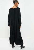 VELVET - Rayon  boho tiered maxi dress - black