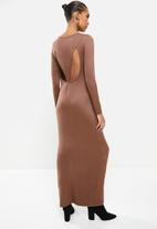 VELVET - Luxe knit column maxi dress with cut-out back - brown
