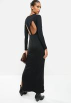 VELVET - Luxe knit column maxi dress with cut-out back - black