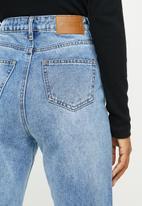 Missguided - Petite slim straight distressed jean - blue